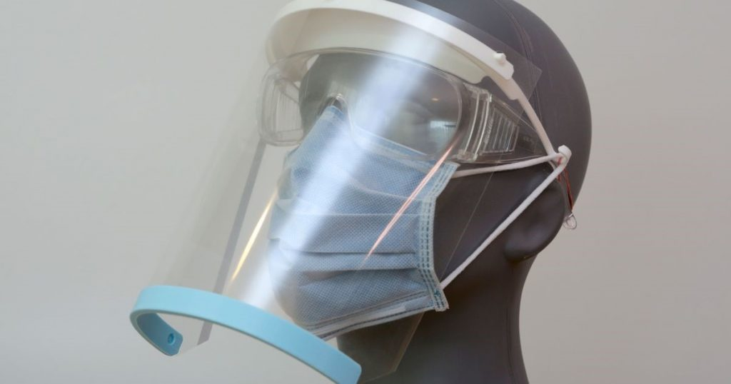 Face shield with PPE